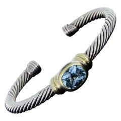 David Yurman Noblesse Gold and Silver Blue Topaz Cuff Bracelet