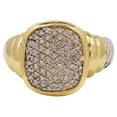 David Yurman 'Noblesse' Sterling Silver, Gold, and Diamond Ring