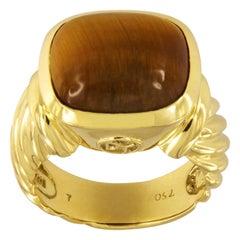 David Yurman Noblesse Tiger's Eye 18 Karat Gold Ring