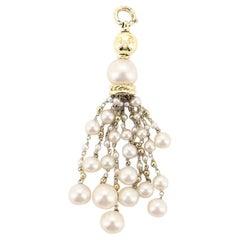 David Yurman Oceanica Tassel Pendant Necklace 18 Karat Yellow Gold and Pearls