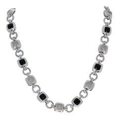 David Yurman Onyx and Diamond Renaissance Necklace, Sterling Link .96 Carat