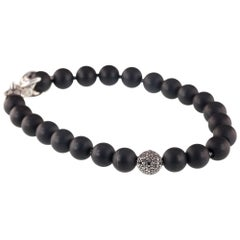 David Yurman Onyx Spiritual Bead Bracelet on Silver Chain w/ Black Diamond Bead