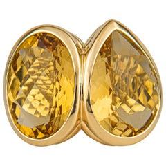David Yurman Oval and Pear Citrine 18 Karat Yellow Gold Ring