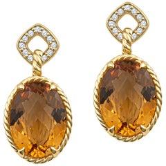 David Yurman Oval Citrine Drop Earrings with 0.25 Carat Round Diamond Halo 18k