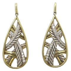 David Yurman Papyrus Sterling Silver and Diamond Earrings