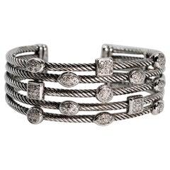 David Yurman Pave Diamond Confetti Five Row Sterling Silver Cuff Bracelet