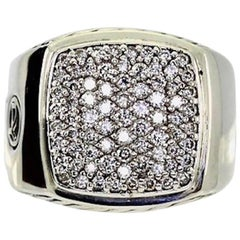 David Yurman Pave Signet Ring Round Brilliant 1.62 Carat Diamond Sterling Silver