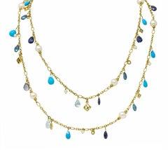 David Yurman Pearl Turquoise Iolite Topaz 18 Karat Gold Briola Station Necklace