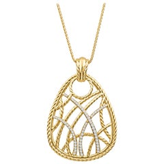 David Yurman Pendant with 0.70 Carat in Round Diamonds 18 Karat Gold Rope Style