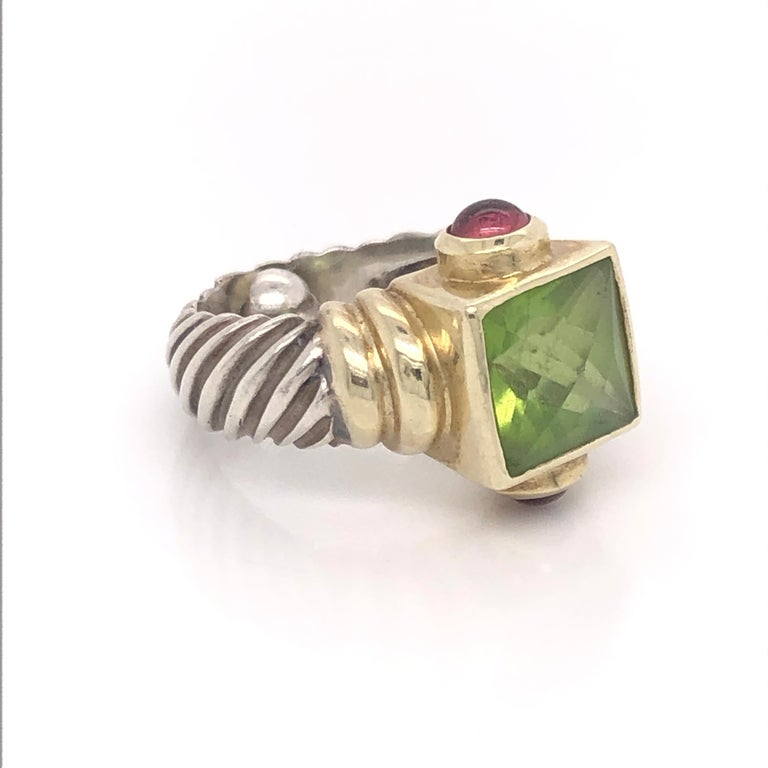 David Yurman previously adored 14K Yellow Gold Peridot and Citrine Sterling Silver Fluted Ring.  This ring is a 4.25 with a sizing ball inside.  Stamped 14K, DYurman©.  Peridot is faceted.