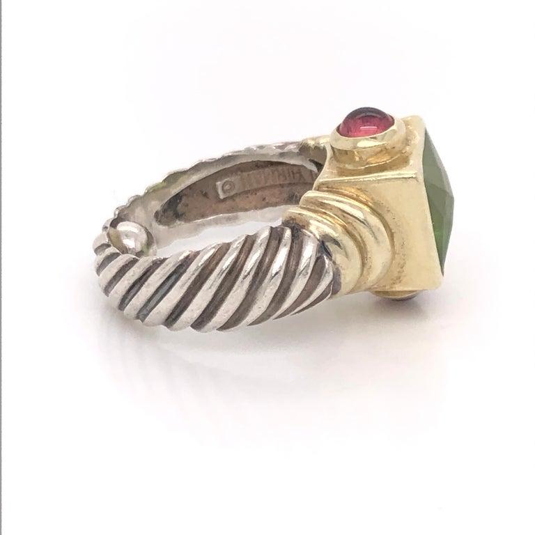 Modern David Yurman Peridot Pink Tourmaline Yellow Gold and Sterling Silver Ring For Sale