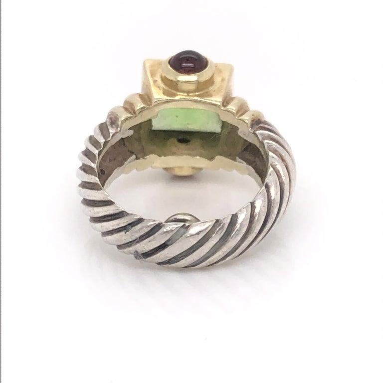 Cushion Cut David Yurman Peridot Pink Tourmaline Yellow Gold and Sterling Silver Ring For Sale
