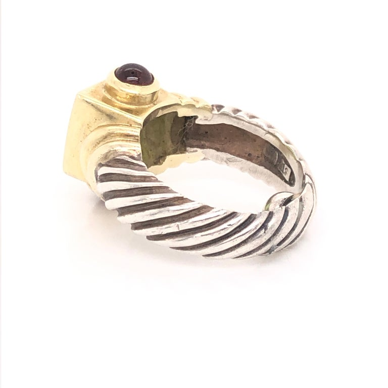 David Yurman Peridot Pink Tourmaline Yellow Gold and Sterling Silver Ring In Good Condition For Sale In Dallas, TX