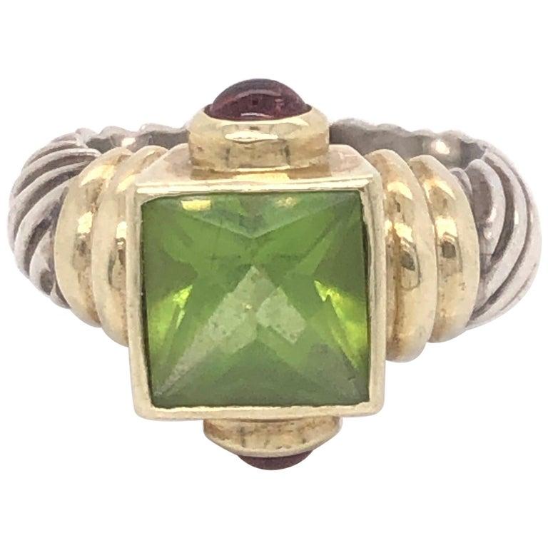 David Yurman Peridot Pink Tourmaline Yellow Gold and Sterling Silver Ring For Sale