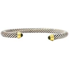 David Yurman Peridot Sterling Silver 14 Karat Gold Cable Classics Cuff Bracelet