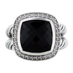 David Yurman Petite Albion Black Onyx with Diamonds 7 MM Ring