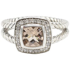 David Yurman Petite Albion Morganite and Diamond Ring Sterling Silver