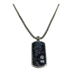 David Yurman Pietersite Large Dog Tag in Silver with Chain