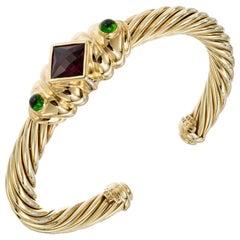 David Yurman Pink Green Tourmaline Yellow Gold Cuff Bracelet