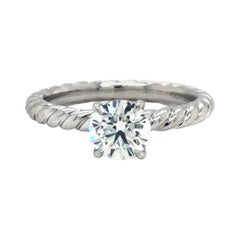 David Yurman Platinum 0.80 Carat Diamond GIA Solitaire Engagement Ring