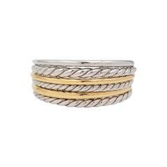 David Yurman 'Pure Form' Sterling Silver and Yellow Gold Six Row Cuff Bracelet