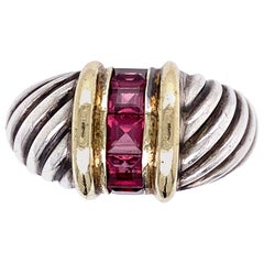 David Yurman Purple Garnet Gold and Sterling Ring Fine Estate Jewelry