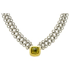 David Yurman Quartz 18 Karat Gold Woven Sterling Silver Link Chain Necklace