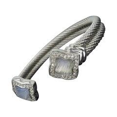 David Yurman Quatrefoil 18 Karat White Gold Diamond and Chalcedony Cuff Bracelet