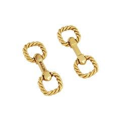 David Yurman Rare Cable 18 Karat Yellow Gold Cufflinks