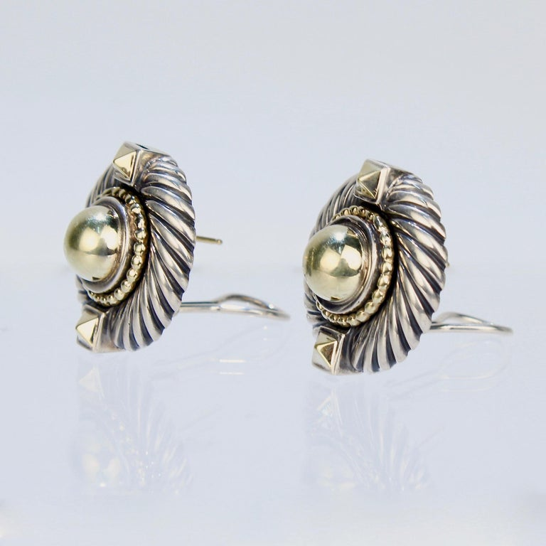 David Yurman Renaissance 14 Karat Gold and Sterling Silver Earrings In Fair Condition For Sale In Philadelphia, PA