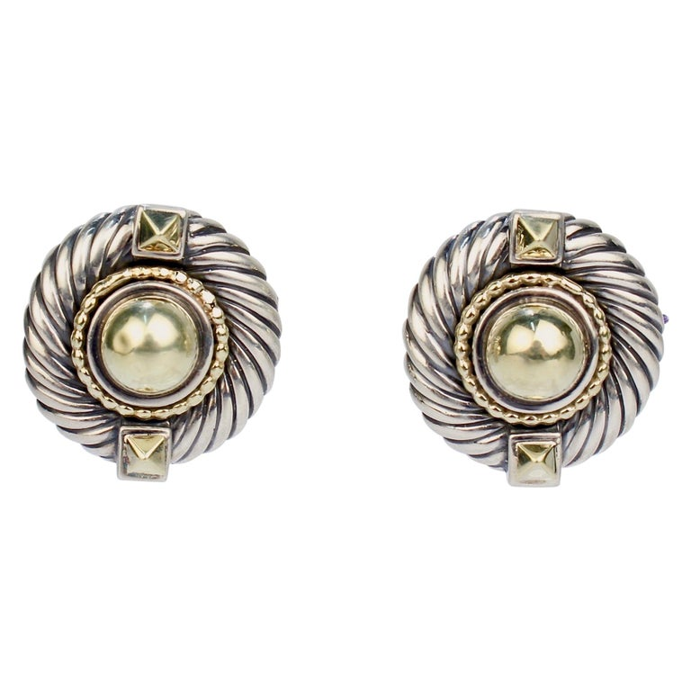 David Yurman Renaissance 14 Karat Gold and Sterling Silver Earrings For Sale