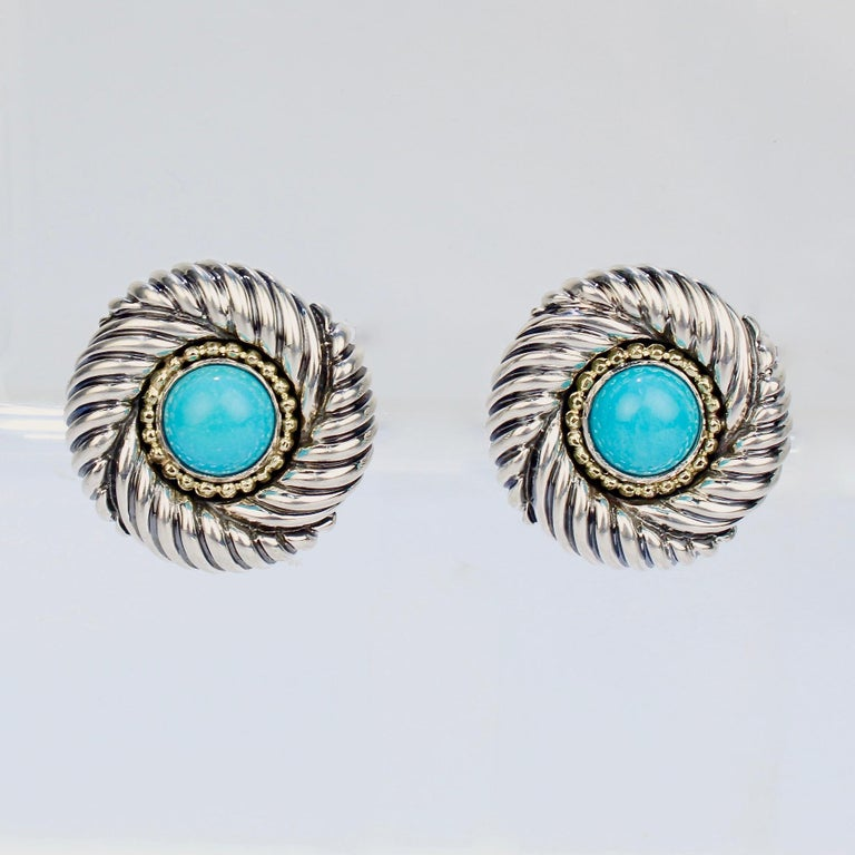 David Yurman Renaissance 14 Karat Gold, Sterling Silver, and Turquoise Earrings In Good Condition For Sale In Philadelphia, PA