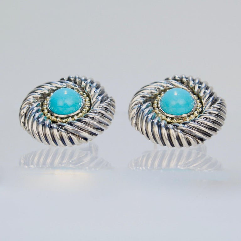 Women's David Yurman Renaissance 14 Karat Gold, Sterling Silver, and Turquoise Earrings For Sale