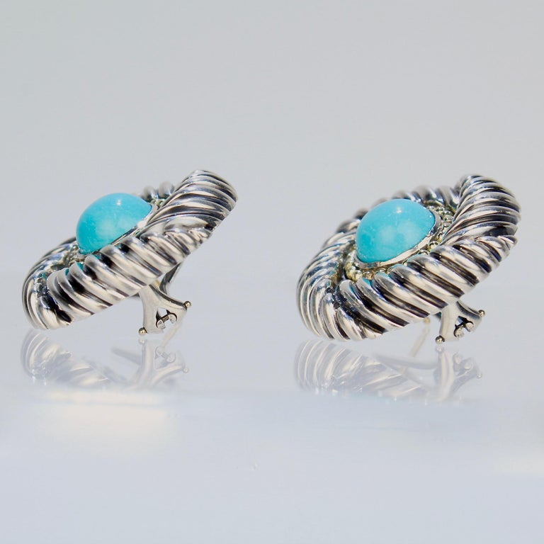 David Yurman Renaissance 14 Karat Gold, Sterling Silver, and Turquoise Earrings For Sale 1