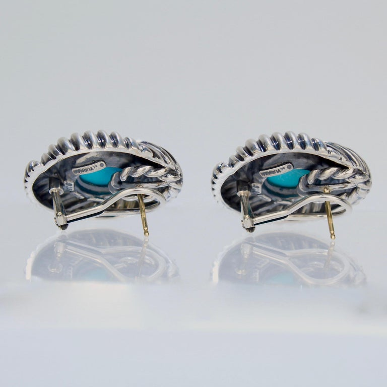 David Yurman Renaissance 14 Karat Gold, Sterling Silver, and Turquoise Earrings For Sale 2