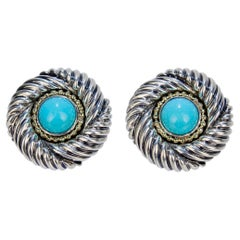 David Yurman Renaissance 14 Karat Gold, Sterling Silver, and Turquoise Earrings