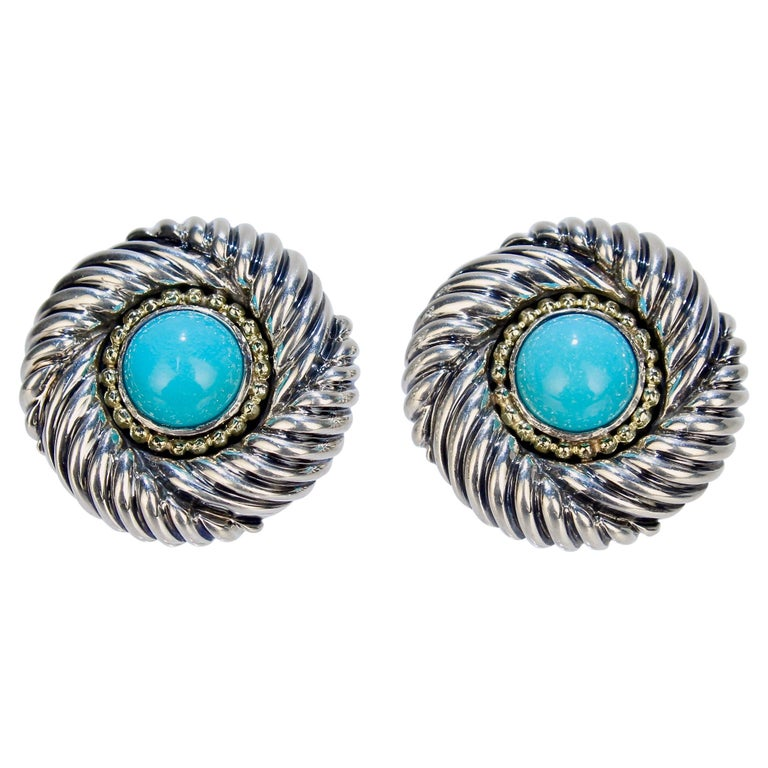 David Yurman Renaissance 14 Karat Gold, Sterling Silver, and Turquoise Earrings For Sale