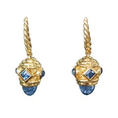 David Yurman Renaissance Drop Earrings with Light Blue Sapphire in 18 Karat Gold