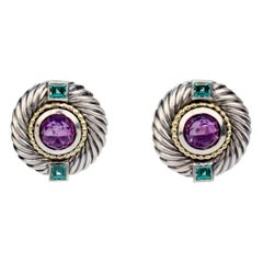 David Yurman Renaissance Gold, Sterling Silver, Amethyst and Tsavorite Earrings