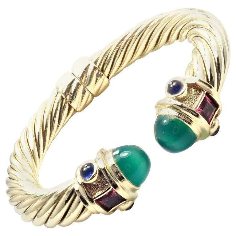 317c867a435fe David Yurman Renaissance Green Onyx Tourmaline Yellow Gold Bangle Bracelet