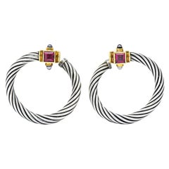 David Yurman Rhodolite Garnet Iolite Sterling Silver 14 Karat Gold Earrings