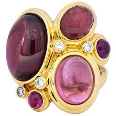 David Yurman Rhodolite Garnet Pink Tourmaline Diamond 18 Karat Gold Mosaic Ring