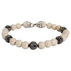 David Yurman Riverstone Spiritual Diamond Bead Men's Bracelet in Silver 7.2CTW