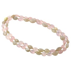 David Yurman Rose Quartz and Moonstone Sculpted Gold Bead Collection Necklace