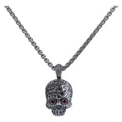 David Yurman Round Diamond Skull Pendant