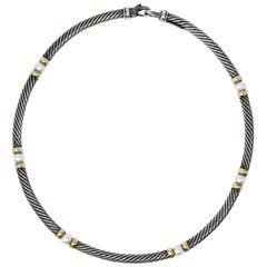 David Yurman Round Pearl Sterling Silver 14 Karat Gold Hampton Cable Necklace