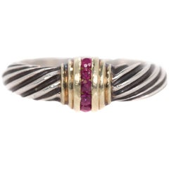 David Yurman Ruby 14k Gold, Sterling Silver and Ruby Two-Tone Cable Ring