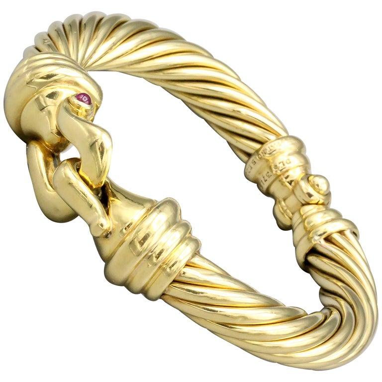 David Yurman Ruby and 18 Karat Yellow Gold Cable Buckle Bracelet