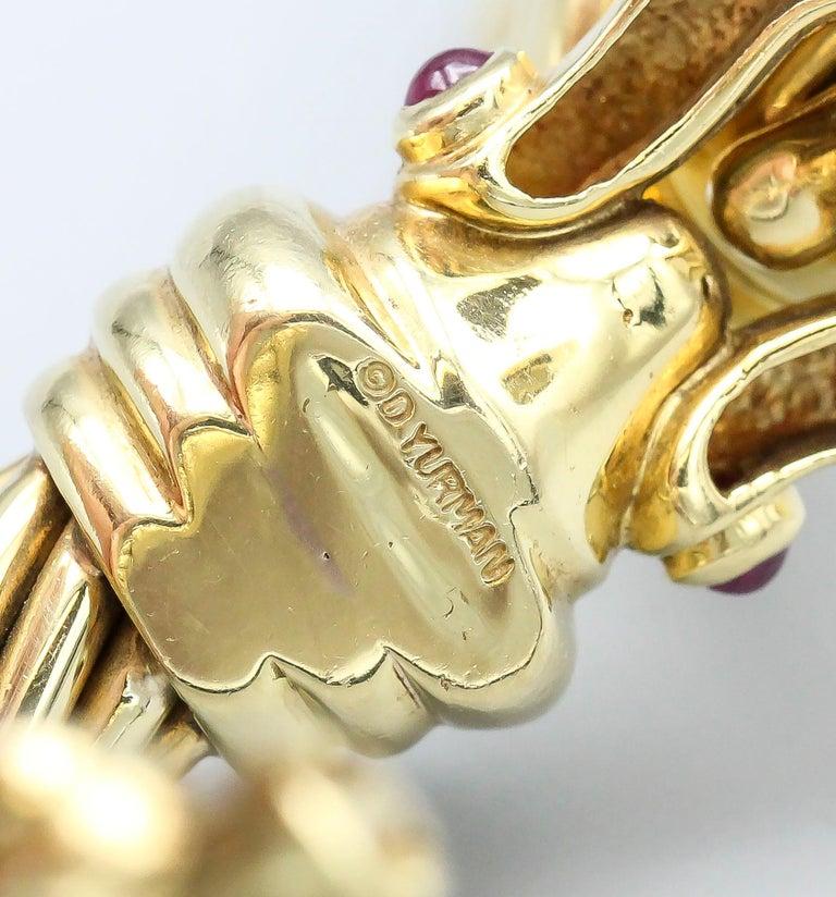 David Yurman Ruby and 18 Karat Yellow Gold Cable Buckle Bracelet 1