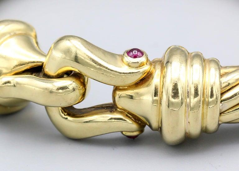 David Yurman Ruby and 18 Karat Yellow Gold Cable Buckle Bracelet 3